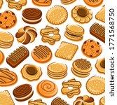 cookies pattern background set. ... | Shutterstock .eps vector #1771568750