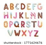 Cartoon Alphabet. Cookies Font...