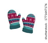 Pair Of Knitted Winter Mittens...