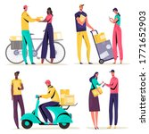 woman man people getting parcel ... | Shutterstock .eps vector #1771652903