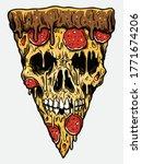 zombie skull pizza slice.... | Shutterstock .eps vector #1771674206