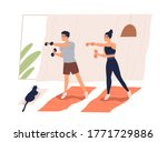 active couple doing exercise... | Shutterstock .eps vector #1771729886