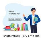 happy teacher's day. male... | Shutterstock .eps vector #1771745486