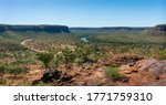 Panoramic view of Victoria river from Escarpment Walk. Rocky landscape, dry season. Road from Northern Territory to Western Australia. Elsey national park, Northern Territory NT, Australia