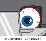 large bloodshot eye staring at... | Shutterstock .eps vector #177180254