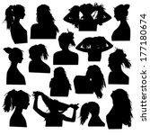 silhouettes of girls hairstyles | Shutterstock .eps vector #177180674
