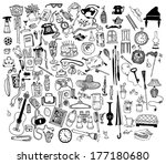 home related objects set. hand... | Shutterstock .eps vector #177180680