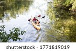 Two Tourists Kayakers Woman An...