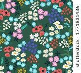 folk art flowers on green... | Shutterstock .eps vector #1771831436