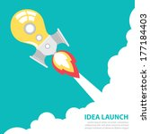 light bulb rocket launch with... | Shutterstock .eps vector #177184403