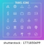 travel outline vector icons on...