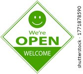 we're open welcome sign text...   Shutterstock .eps vector #1771878590