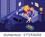 online cinema isometric living...   Shutterstock .eps vector #1771926203