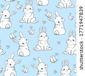 seamless pattern rabbit and...   Shutterstock .eps vector #1771947839