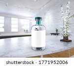 clear gin or vodka bottle with... | Shutterstock . vector #1771952006