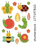 cute insect set. vector... | Shutterstock .eps vector #177197810