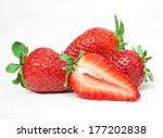 ripe red strawberries on white... | Shutterstock . vector #177202838