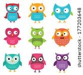 owls vector set | Shutterstock .eps vector #177203648