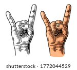 rock and roll hand sign. vector ...   Shutterstock .eps vector #1772044529
