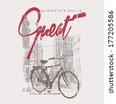 cycling themed t shirt printing ... | Shutterstock .eps vector #177205586
