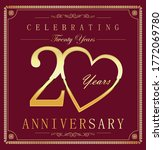 anniversary gold and dark red... | Shutterstock . vector #1772069780