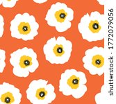 White flowers on orange seamless vector retro pattern. Repeating floral background Scandinavian style. Vintage style. Use for fabric, wallpaper, home decor