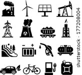 Energy icons black on white