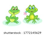 Two Funny Green Frogs. In...