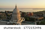 Aerial view of City of Madison. The capital city of Wisconsin from above. Drone flying over Wisconsin State Capitol in downtown. Sunny morning, sunrise (sunset), sunlight, summertime