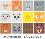 Set Of Cartoon Cute Animal...