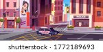 city street with police station ... | Shutterstock .eps vector #1772189693
