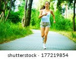 running woman. female runner... | Shutterstock . vector #177219854