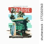 paradise slogan with beach hut... | Shutterstock .eps vector #1772202563