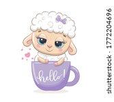 cute baby sheep in cup. vector...   Shutterstock .eps vector #1772204696