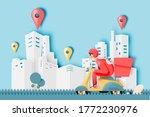 a man drive a scooter motorbike ... | Shutterstock .eps vector #1772230976
