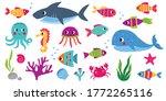 sea animals  cartoon vector set ... | Shutterstock .eps vector #1772265116