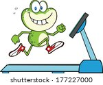 healthy green frog running on a ... | Shutterstock .eps vector #177227000