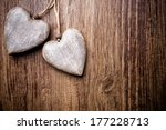 Heart On A Wooden Background....