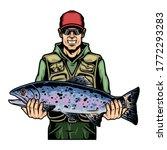 happy fisherman holding rainbow ...