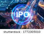 ipo icon hologram on aerial... | Shutterstock . vector #1772305010
