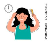 woman combing her hair with a...   Shutterstock .eps vector #1772324813