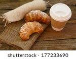 Постер, плакат: Two croissants and coffee to go