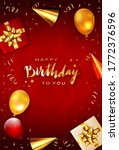 lettering happy birthday on red ...   Shutterstock .eps vector #1772376596