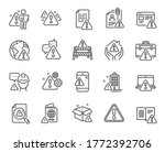 warnings line icons. caution... | Shutterstock .eps vector #1772392706