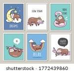 set of cute sloths poster card... | Shutterstock .eps vector #1772439860