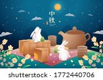 cute rabbits picnicking under... | Shutterstock .eps vector #1772440706