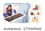 modern guy online dj mixing... | Shutterstock .eps vector #1772469620