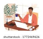 smiling black skin freelancer... | Shutterstock .eps vector #1772469626