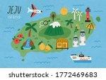 Hand Drawn Jeju Island Map...