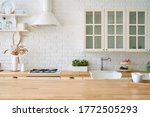 kitchen wooden table top and... | Shutterstock . vector #1772505293